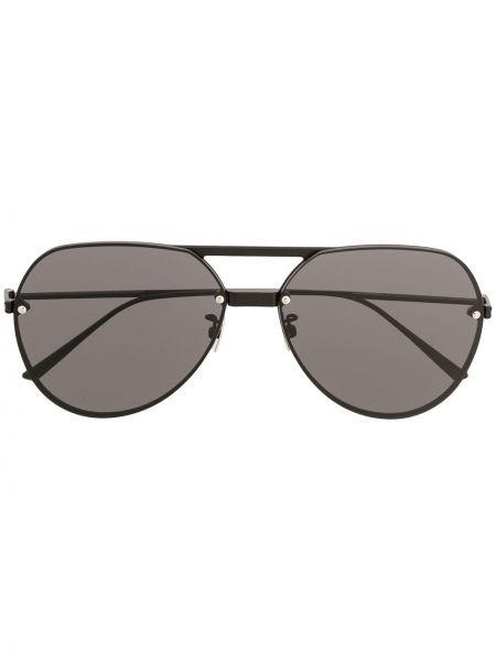 Прямые черные солнцезащитные очки металлические Bottega Veneta Eyewear