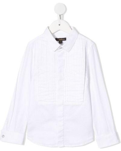 Biała koszula bawełniana z długimi rękawami Velveteen