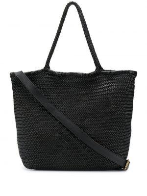 Кожаная черная плетеная кожаная сумка на молнии Officine Creative