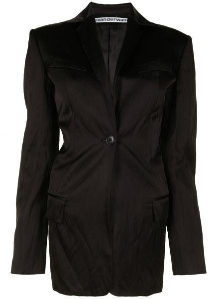 Черный удлиненный пиджак на пуговицах из вискозы Alexander Wang