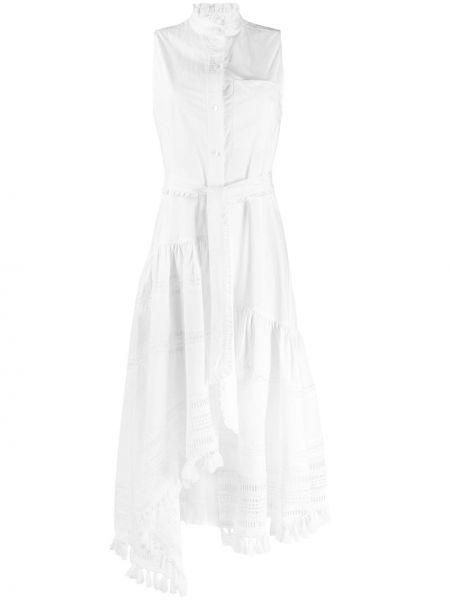 Платье макси с бахромой на пуговицах Derek Lam 10 Crosby