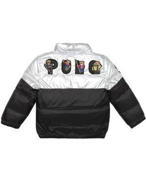 Czarny płaszcz z haftem Polo Ralph Lauren Kids