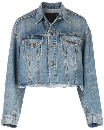 Синяя джинсовая куртка с манжетами на пуговицах R13