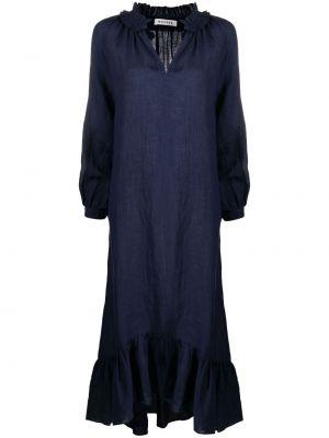 Расклешенное льняное синее платье макси Masscob