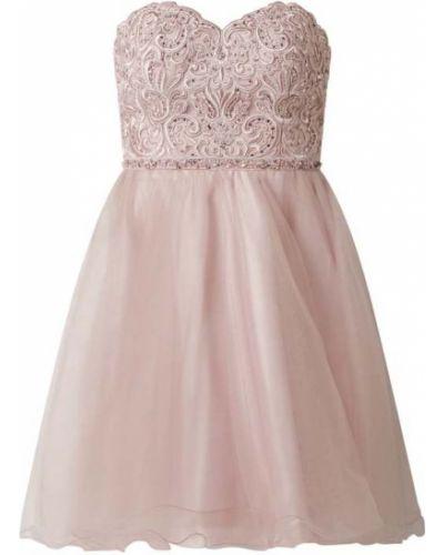 Różowa sukienka koktajlowa rozkloszowana Laona