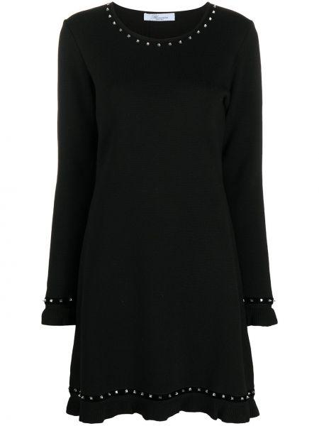 Черное вязаное платье мини с длинными рукавами круглое Blumarine