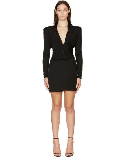 Черное платье макси с длинными рукавами Balmain