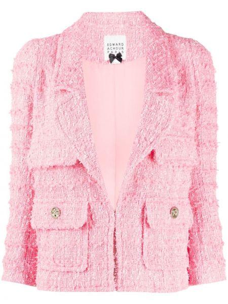 Розовый удлиненный пиджак твидовый с карманами Edward Achour Paris