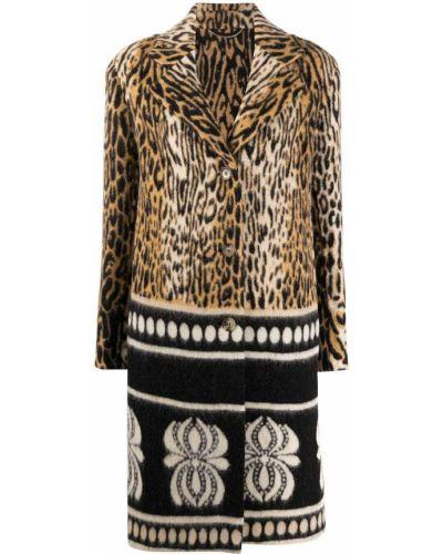Коричневое однобортное шерстяное пальто на пуговицах Ermanno Scervino