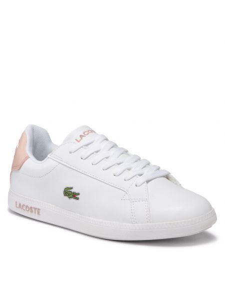 Buty sportowe skorzane - białe Lacoste