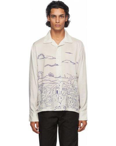 Biała koszula z długimi rękawami z wiskozy z printem Carne Bollente