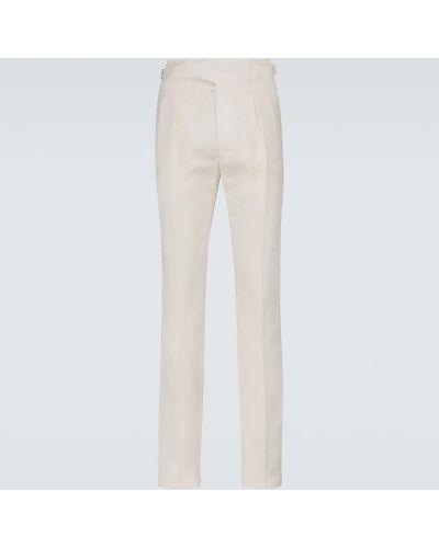 Плиссированные бежевые льняные брюки Ralph Lauren Purple Label