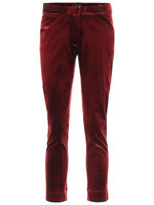 Хлопковые красные зауженные укороченные брюки Ann Demeulemeester