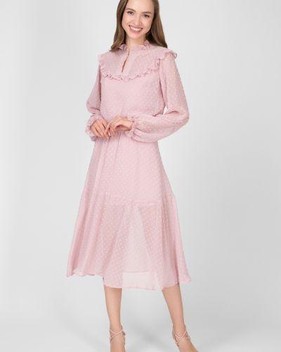 Шифоновое платье миди - розовое Kano