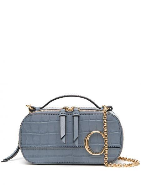 Skórzany z paskiem niebieski torba kosmetyczna Chloe