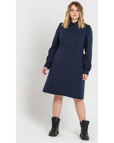 Костюмное синее платье миди оверсайз из вискозы Vovk