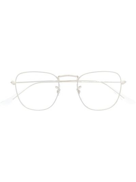 Серебряные очки круглые прозрачные Ray-ban