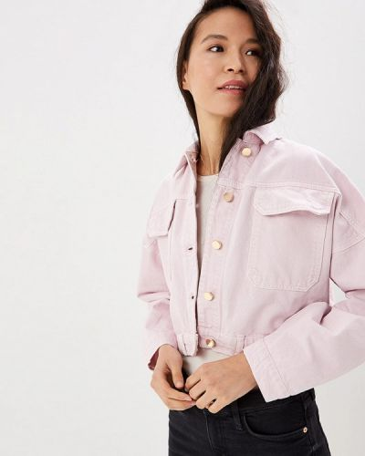 Джинсовая куртка весенняя розовая River Island
