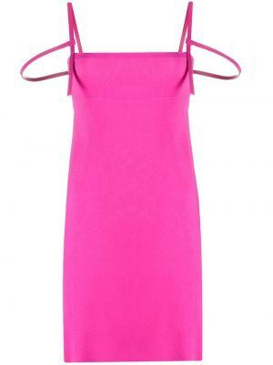 Кожаное розовое платье без рукавов Dsquared2