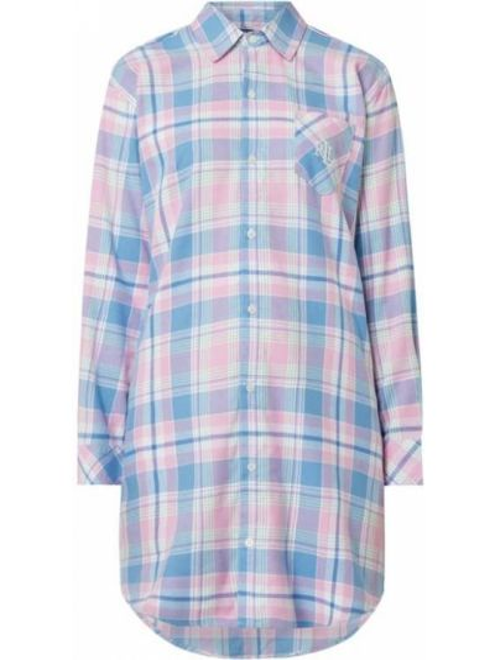 Różowa koszula nocna bawełniana z długimi rękawami Lauren Ralph Lauren