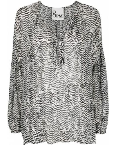Черная блузка из вискозы с завязками 8pm