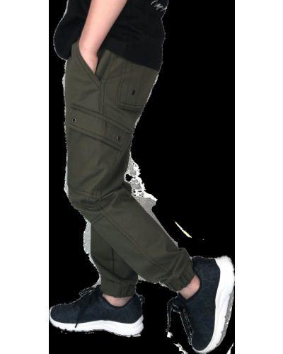 Хлопковые брюки хаки на кнопках Kit-lime