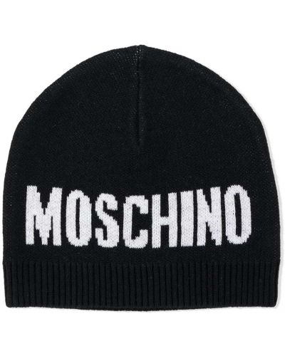 Шерстяная черная вязаная шапка бини Moschino Kids