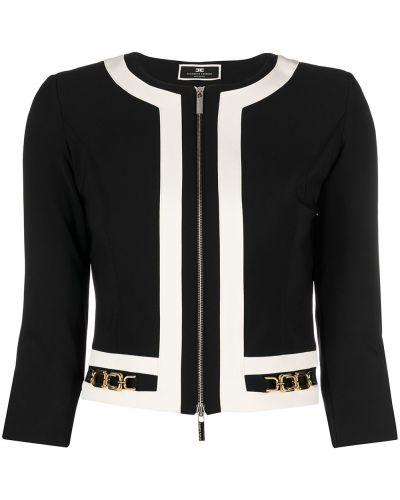 С рукавами черный пиджак на молнии Elisabetta Franchi