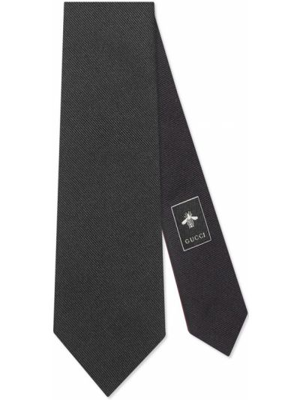 Jedwab czarny krawat z haftem Gucci