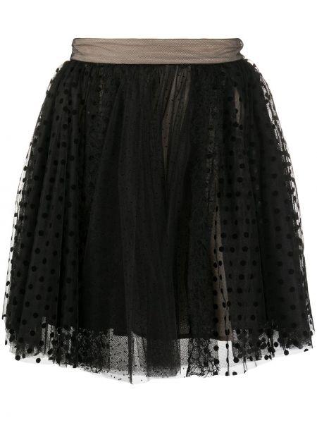 Плиссированная черная юбка прозрачная Brognano