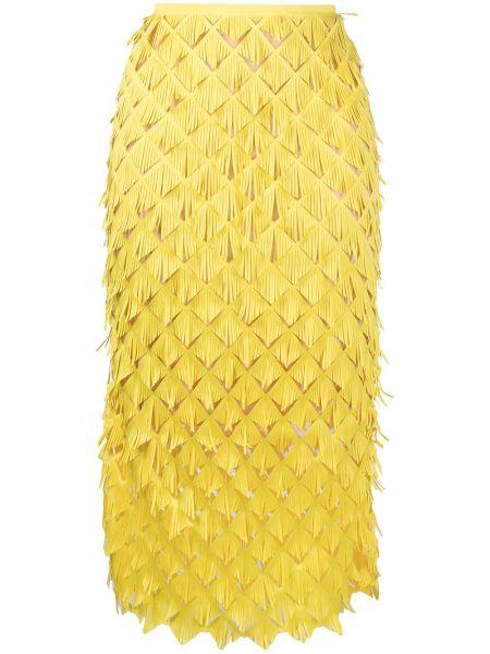 Желтая прямая юбка миди с бахромой Paskal