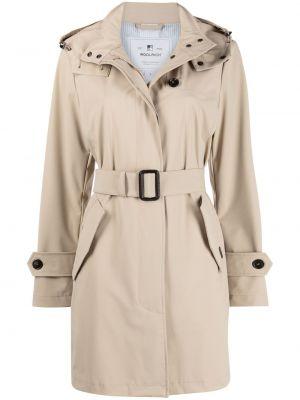 Бежевое пальто классическое с капюшоном на пуговицах Woolrich