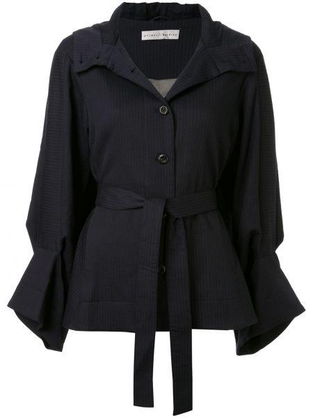 С рукавами синяя куртка с капюшоном на пуговицах с поясом Palmer / Harding