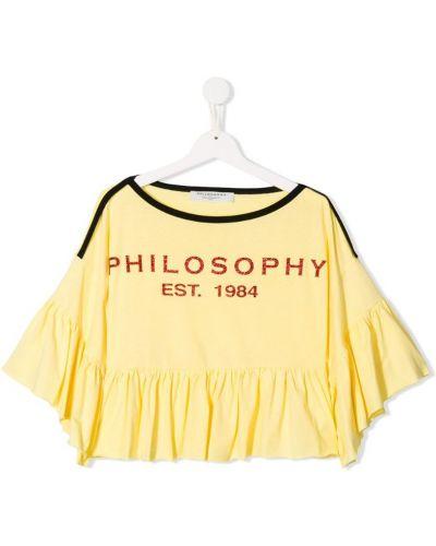 Желтая расклешенная блуза Philosophy Di Lorenzo Serafini Kids