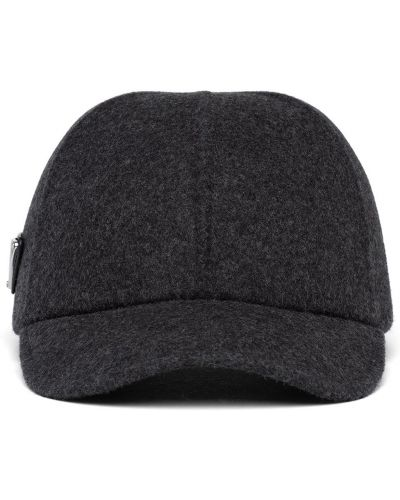 Czarna czapka z daszkiem Prada