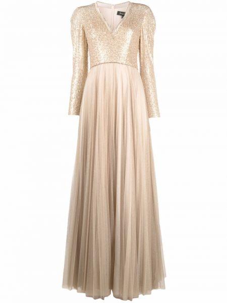 Złota sukienka długa z długimi rękawami z dekoltem w serek Jenny Packham