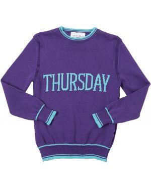 Fioletowy pulower bawełniany w paski Alberta Ferretti
