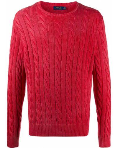 Czerwony bawełna bawełna koszulka polo z długimi rękawami Polo Ralph Lauren