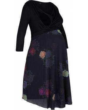 Платье для беременных с цветочным принтом с поясом Bonprix