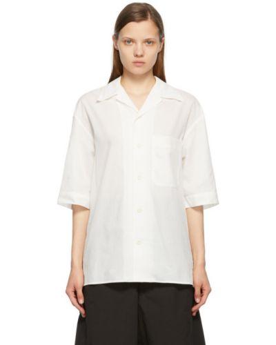 Biała koszula krótki rękaw bawełniana Lemaire