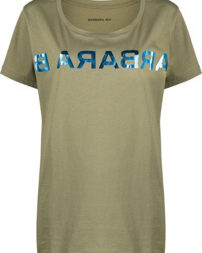 Zielony t-shirt bawełniany krótki rękaw Barbara Bui