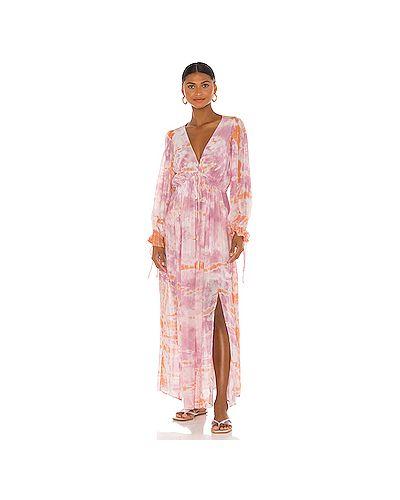Фиолетовое шелковое платье макси эластичное Young Fabulous & Broke