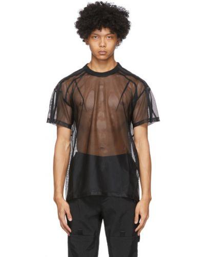 Czarny t-shirt krótki rękaw z siateczką Blackmerle