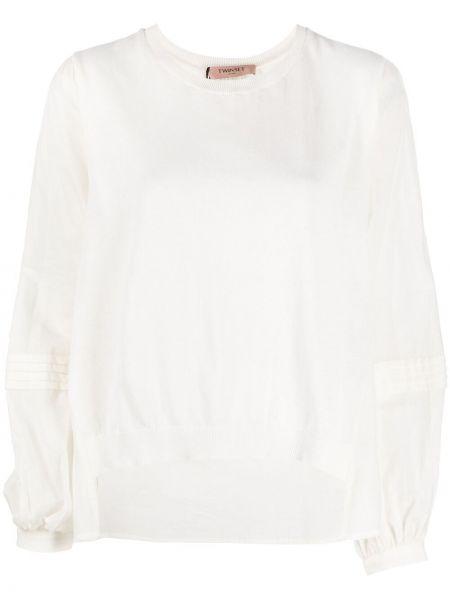 Biała bluzka asymetryczna bawełniana Twin Set
