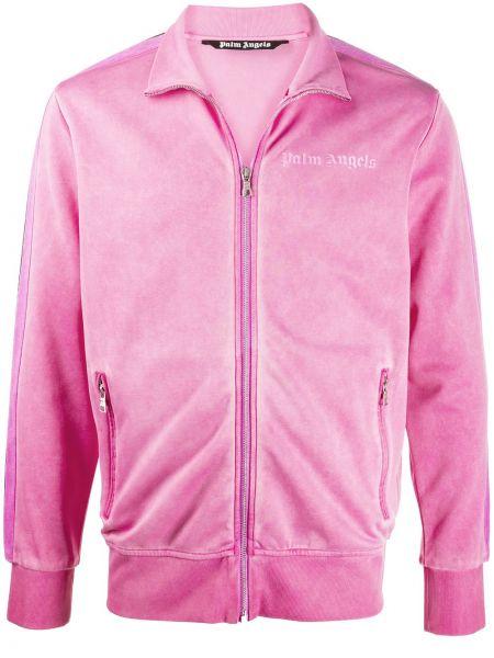 Aksamit różowy długa kurtka z mankietami z kieszeniami Palm Angels