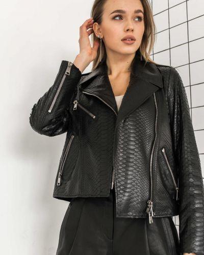 Кожаная куртка из кожи питона - черная без бренда