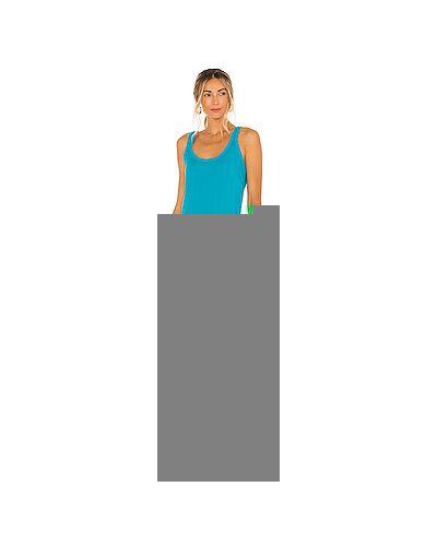 Хлопковое синее платье миди в рубчик с разрезом Vitamin A