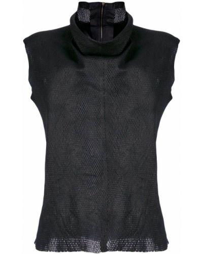 Черная блузка без рукавов с воротником без рукавов Vanderwilt