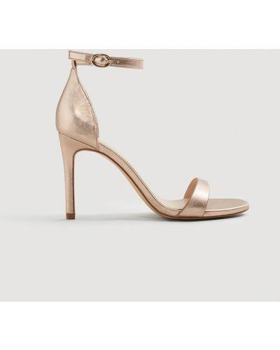 Туфли на высоком каблуке кожаные на шпильке Mango