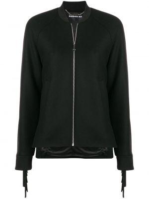 Czarna długa kurtka skórzana z frędzlami Barbara Bui